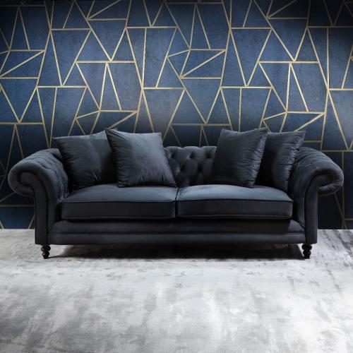 chesterfield sofa in black velvet
