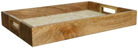 Block & Chisel rectangular wooden tray with marble inlay