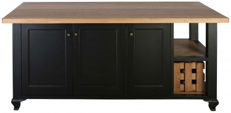 Block & Chisel Kitchen Island in Matt Black Lacquer and Weathered Oak