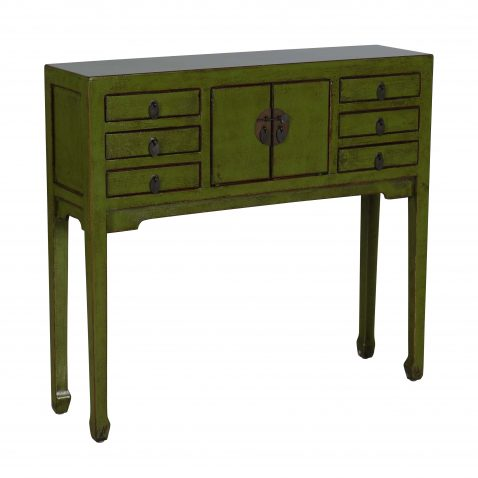 olive green lacquered console