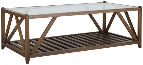 Block & Chisel rectangular solid antique weathered coffee table with a glass top