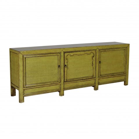green lacquered sideboard with 3 doors