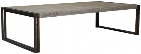 Block & Chisel rectangular teak wood coffee table with iron legs
