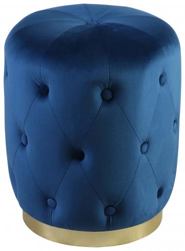 Block & Chisel round blue velvet upholstered stool