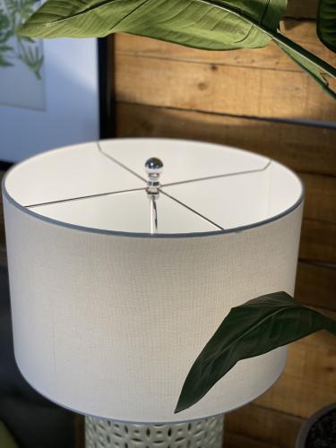 ceramic base cream lamp base with white faux silk shade