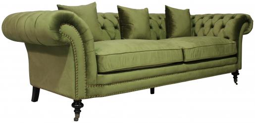 Block & Chisel green velvet 3 seater sofa
