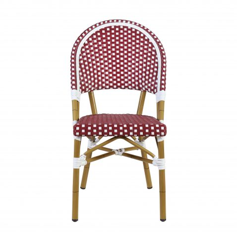 Block & Chisel cafe red and white PE rattan dining chair with Aluminium Bamboo frame