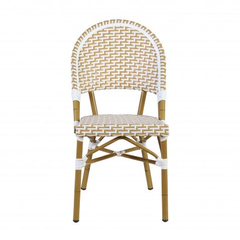 cream and white synthetic dining chair