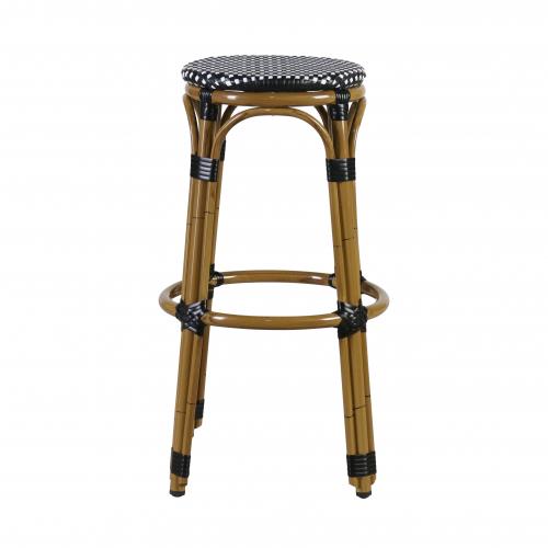 Block & Chisel black and white PE rattan barstool with Aluminium Bamboo frame