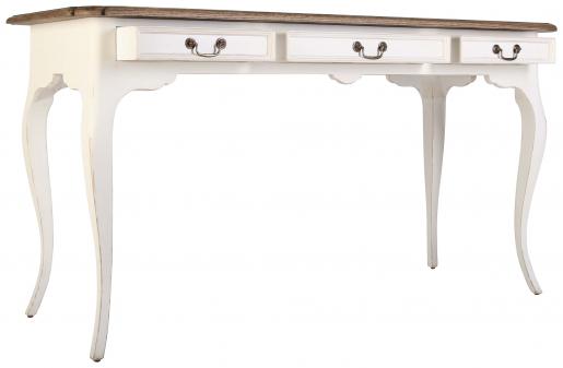 Block & Chisel white washed oak writing table with chimney sweep grey base