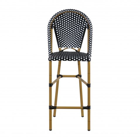 black and white synthetic barstool