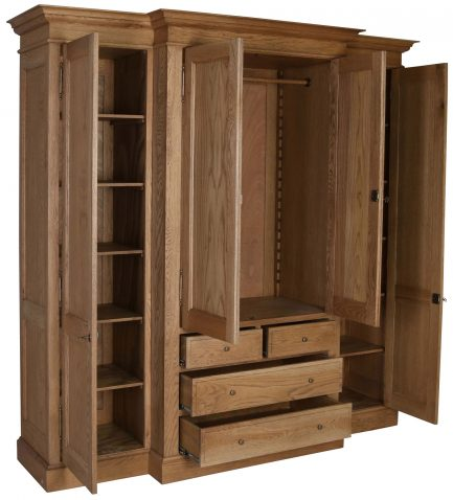 Block & Chisel solid weathered oak breakfront wardrobe
