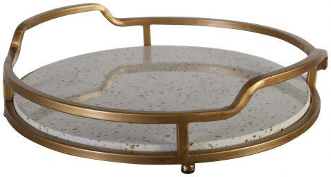 Block & Chisel oval faux stone and iron tray