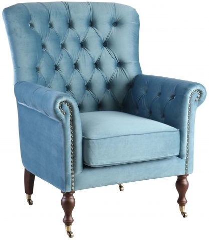 Block & Chisel teal upholstered occasional chair on castors
