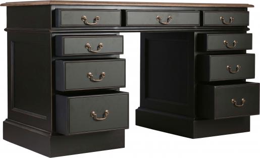 Block & Chisel antique weathered oak pedestal desk with matt black finish