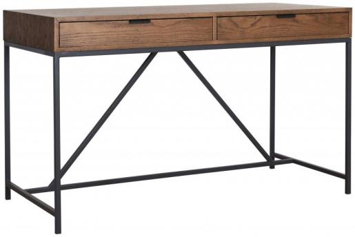 Block & Chisel antique weathered oak desk with matt black wrought iron base