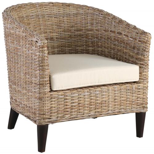 Block & Chisel grey kubu rattan tub chair with mahogany wood legs