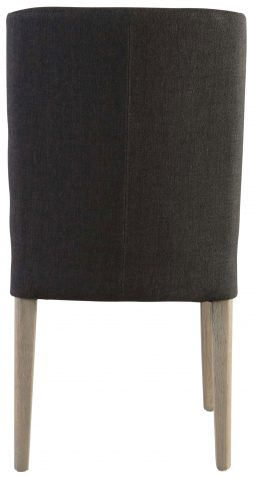 Block & Chisel linen upholstered dining chair with pointed oak wood legs