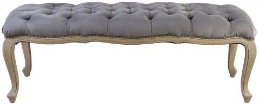 Block & Chisel grey velvet upholstered button tufted bed end