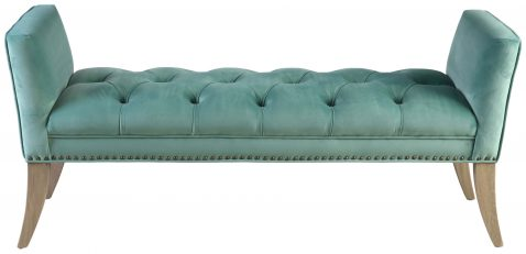 Block & Chisel green upholstered button tufted bed end with wing sides
