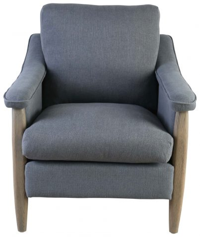 Block & Chisel grey upholstered occasional chair with oakwood legs
