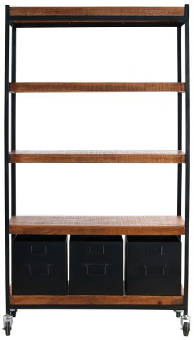Block & Chisel metal bookcase with wooden shelves and metal drawers