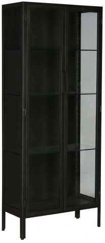 Block & Chisel black metal cabinet with glass doors and shelves