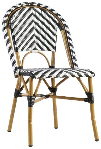 Block & Chisel black and white PE rattan dining chair with Aluminium Bamboo frame