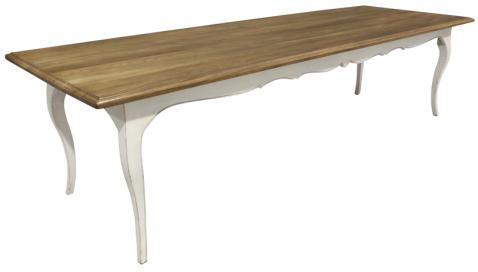 Block & Chisel weathered oak dining table with antique white base