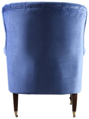 Block & Chisel persian blue upholstered occasional chair on castors