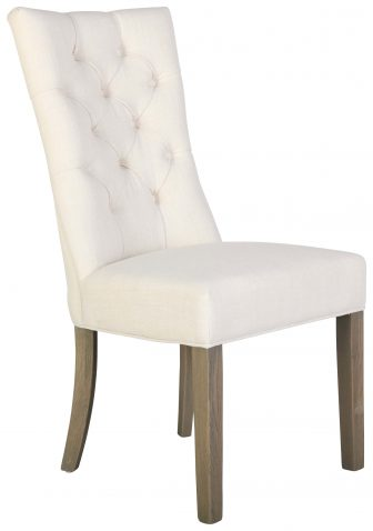 Block & Chisel cream upholstered button tufted dining chair