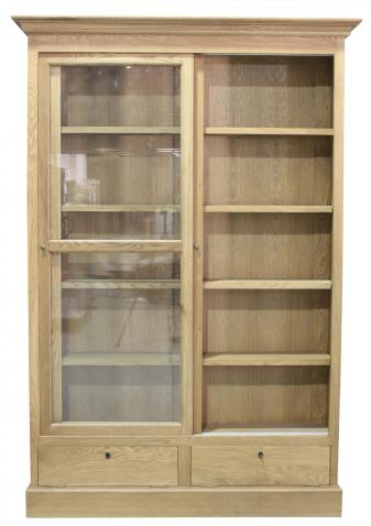 Block & Chisel solid weathered oak glass fronted bookcase