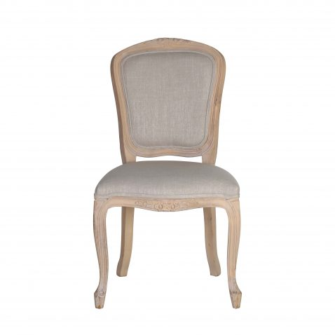 French style dining chair with wooden frame, upholstered in linen fabric