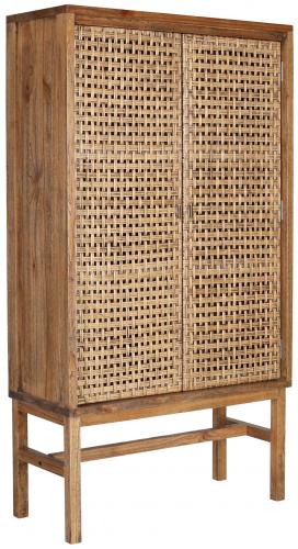 Block & Chisel wooden cupboard with rattan doors