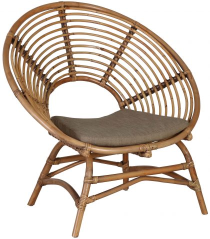 Block & Chisel round rattan occasional chair with seat cushion