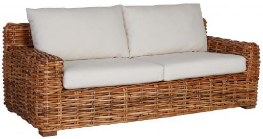 Block & Chisel rattan sofa with linen cushions