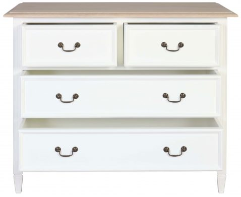Block & Chisel white washed oak 4 drawer chest with a flat white base
