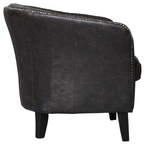 Block & Chisel Occasional chair black leather stud detail with birch wood legs