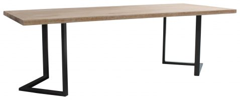 Block & Chisel Dining Table Ash Wood Top With Black Metal base