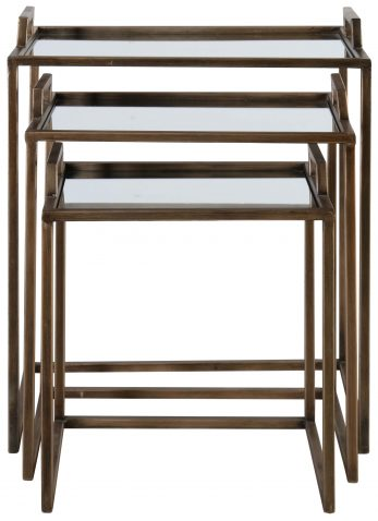 Block & Chisel rectangular iron nesting tables with mirrored tray tops