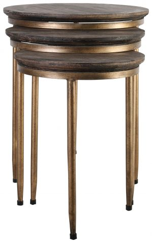 Block & Chisel round Polywood nesting tables with iron tapered legs