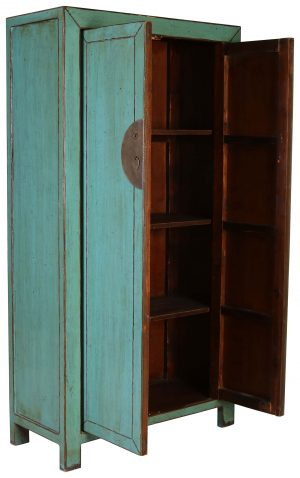 Block & Chisel blue distressed wooden cabinet
