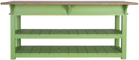 Block & Chisel kitchen island with weathered oak top and green base
