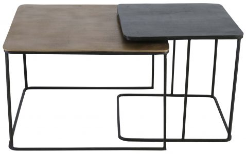 Block & Chisel rectangular nesting tables with mirrored tray tops