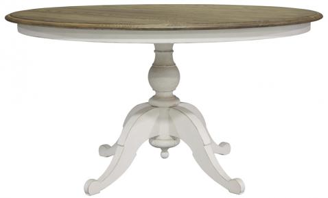 Block & Chisel round weathered oak table with antique white base