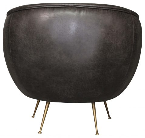 Block & Chisel Occasional Chair Faux Leather With Stainless Steal Copper Look Legs