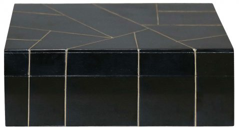 Block & Chisel black resin box with abstract line