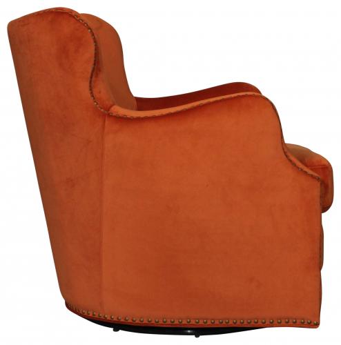 Block & Chisel Swivel Chair Orange Velvet Upholstered With Birch Wood Legs