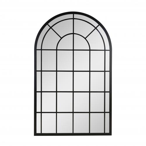 Black framed arched mirror