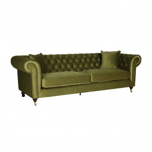 chesterfield sofa in green velvet